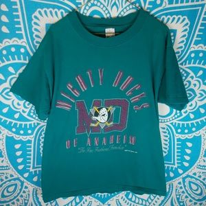 Vintage 90s Mighty Ducks of Anaheim Shirt L Teal